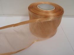 Caramel Gold satin edged organza ribbon, 2 or 25 metres, Double sided, 10mm, 15mm, 25mm, 40mm, 70mm